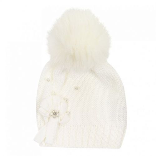 Cream Embelished Pom Pom Hat